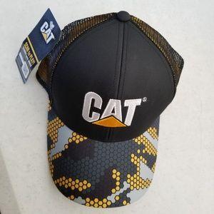 CAT Black & Gold Camo Hex Pattern Cap (New)